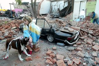 Chile Earthquake Woman Sitting