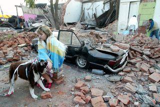 Chile Earthquake Woman Sitting