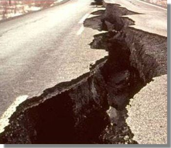 Earthquake crack in highway
